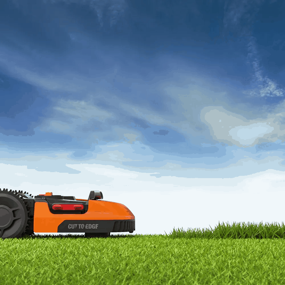 A robot mower runs on lithium-ion batteries that are recharged from a charging base