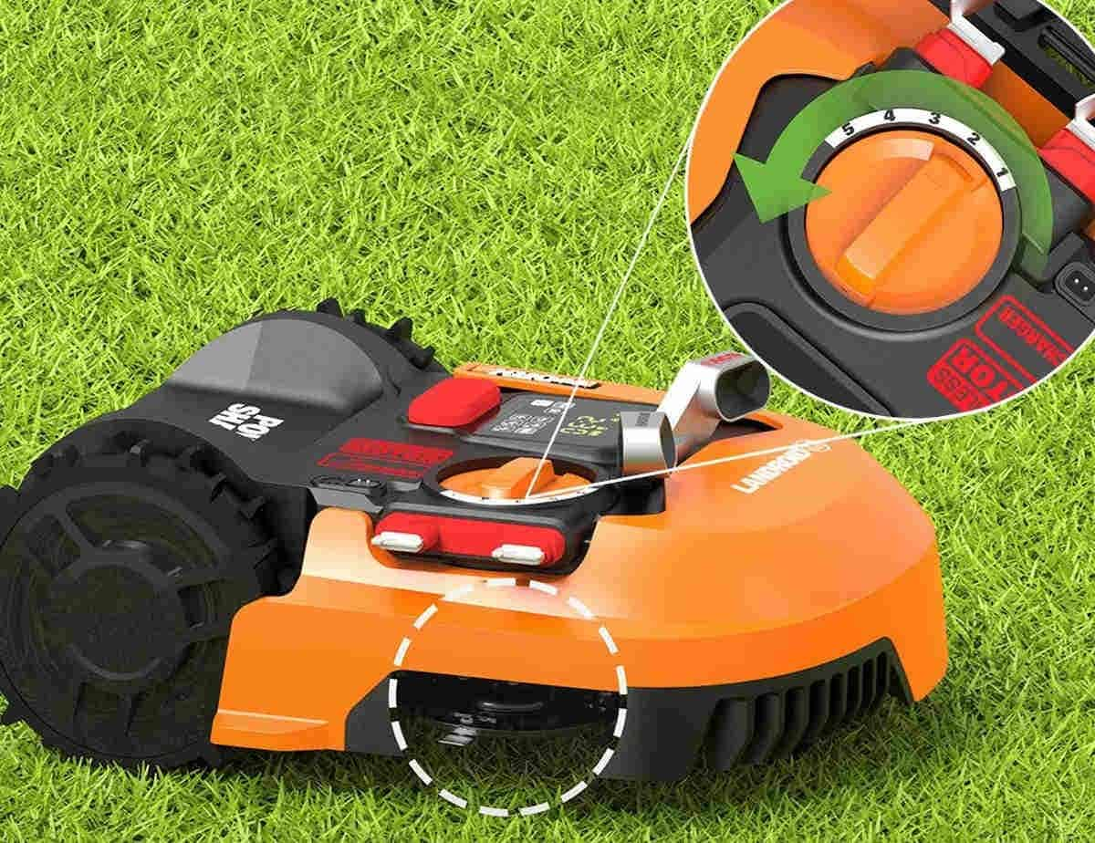 Easily adjust the height using the dial on the mower
